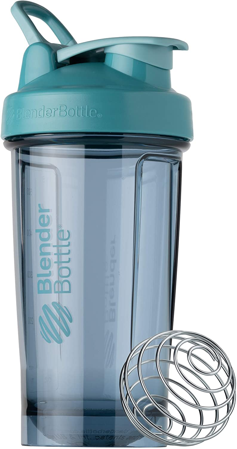 BlenderBottle Shaker Bottle Pro Series Perfect for Protein Shakes and Pre Workout, 24-Ounce, Cerulean Blue