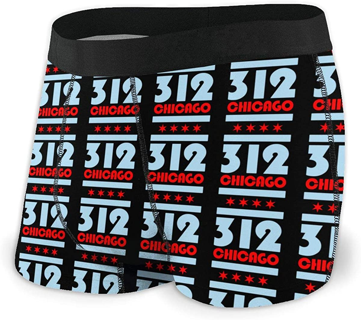 Chicago Flag 312 Men Regular Leg Boxer Brief Underwear Ride-Up Panties