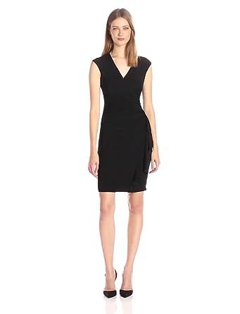 Anne Klein Womens Vneck Side Ruffled Dress Black 12 At Amazon