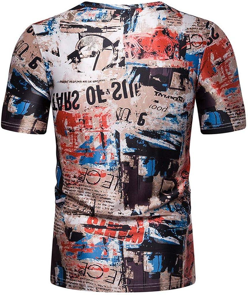 waotier Camiseta De Manga Corta De Hombre Cuello Redondo De Moda Estampado Urbano Delgado De Manga Corta Ropa Verano: Amazon.es: Ropa y accesorios