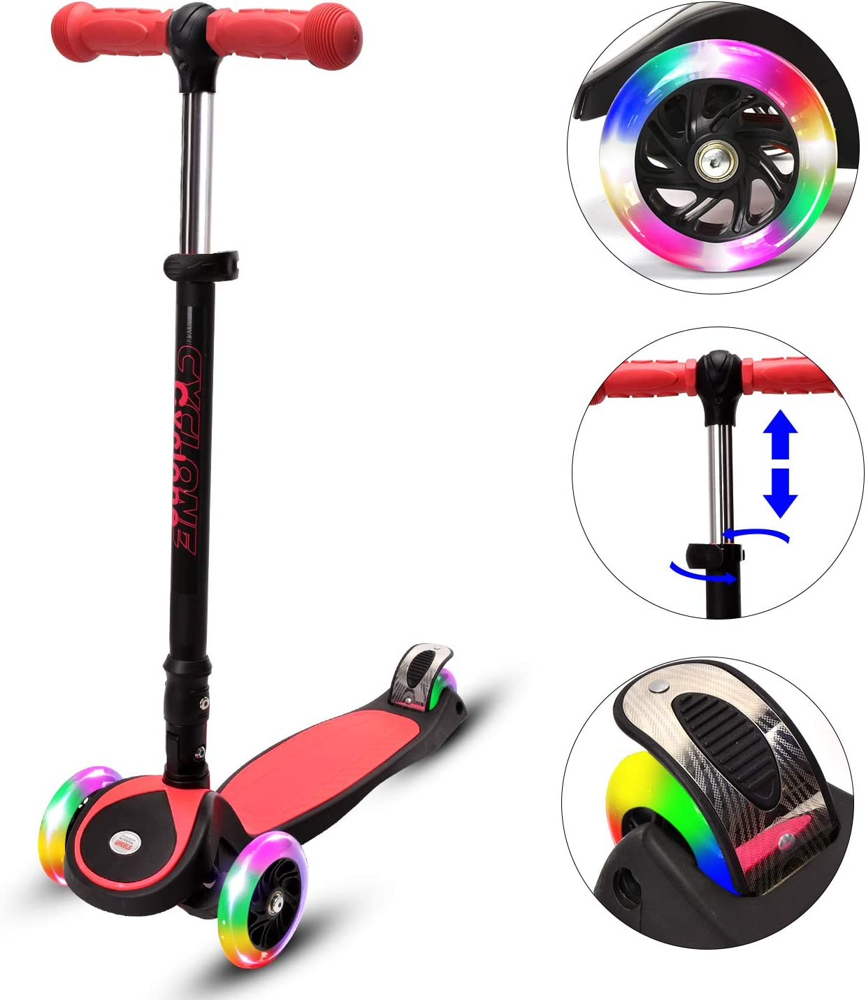 ChromeWheels Kick Scooter for Kids, Glidekick Scooter Lean to Steer with 3 Flash Wheels, 4 Adjustable Height and Extra Wide Brake, Gift for Children, Kids, Boys, Girls