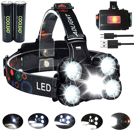 Linterna frontal LED Recargable de Trabajo, 8000 Lúmenes, 4 Modos ...