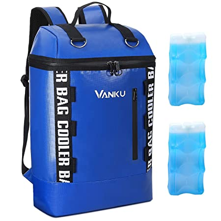 Vanku Insulated Cooler Backpack with 2 Ice Packs Waterproof and Leakproof Soft Cooler for Beach, Hiking, Picnic and Party Blue