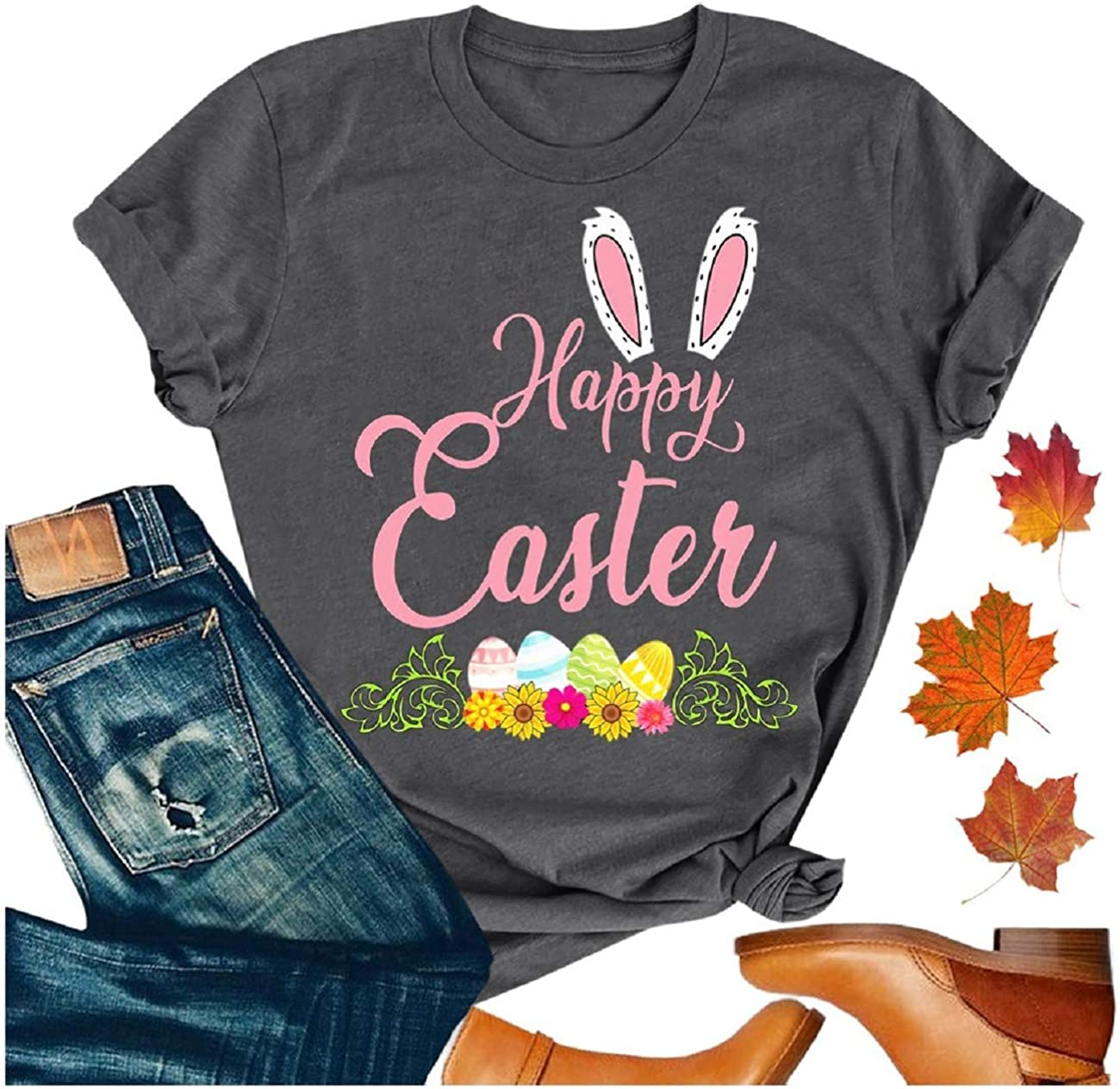 Tsmile Womens Easter Bunny Printing Plus Size Short Sleeve O-Neck Tee Cotton Blend T-Shirt Tunic Blouse Tops