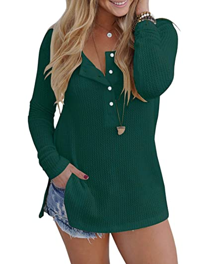 233c2faf ALALEI Womens Long Sleeve Henley Blouse Fall Button Down Pullover Knit  Loose Leisure Stylish Sexy Knit