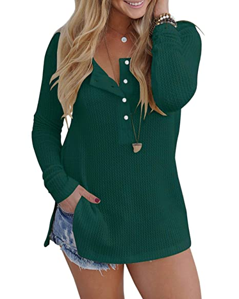 Alalei Womens Long Sleeve Henley Blouse Fall Button Down Pullover