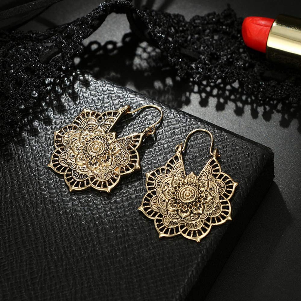 Mode Damen Ohrringe Hoop Mandala Ohrringe Boho Retro hohlen Blume Legierung Ohrringe