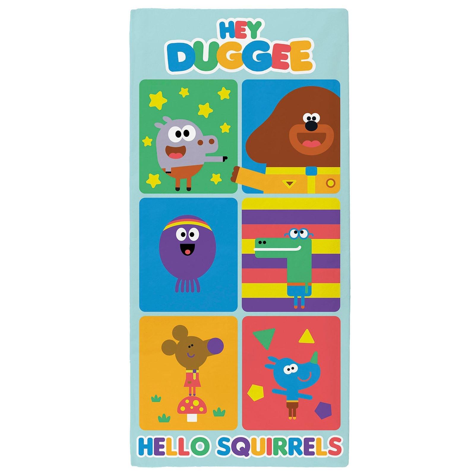 Hey Duggee Hello Squirrels' Towel, Cotton, Multi-colour, 70 x 0.5 x 140cm