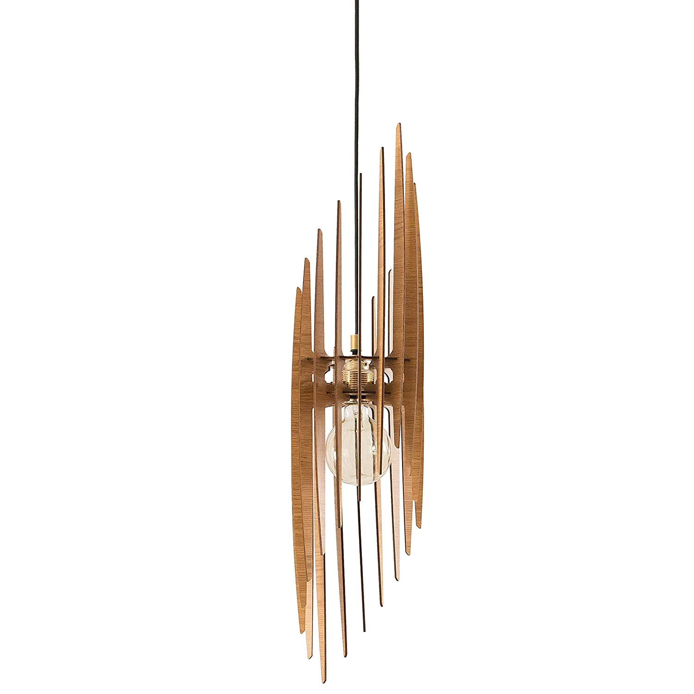 Dezaart Wood Pendant Light, Scandinavian Light Fixture, Handmade Lighting Product, Handmade Lamp, Natural Pendant Light Mid Century Modern for Living Room, Bedroom, Kitchen Island, Entryway, Hallway