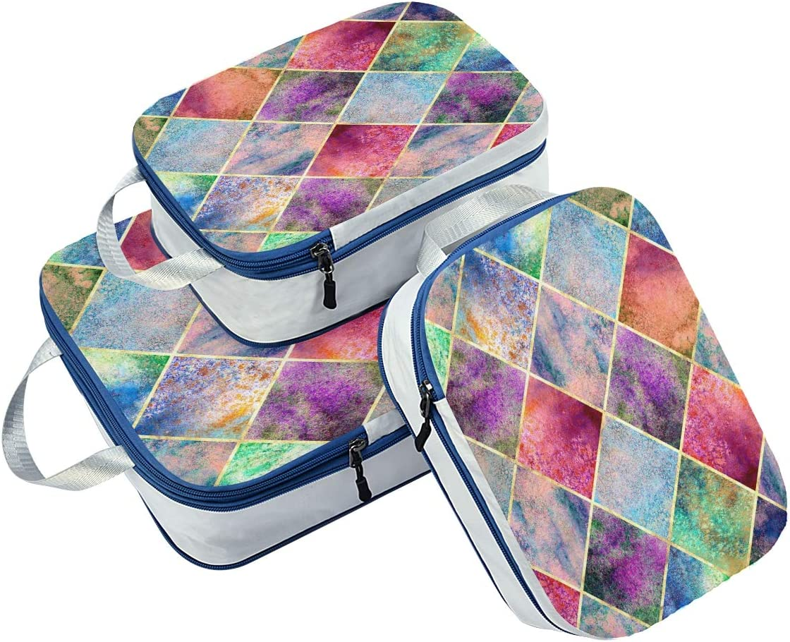 ATONO Argyle Abstract Geometric Plaid Gold Glitter Line Contour Travel Packing Cubes Luggage Organizer Bags Storage 3 Pack Sets Toiletries Shoe Bag for Business Trip Holiday Kids/&Adults