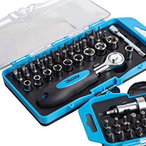 FIXTEC 38-Piece Screwdriver Bit Set and Ratchet Wrench, Home Repair Kit with Plastic Toolbox Storage Case