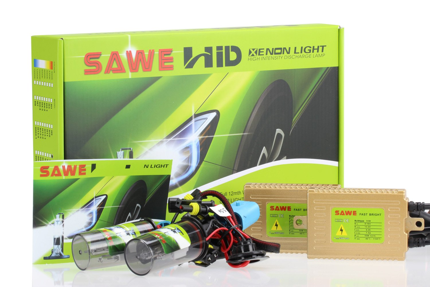 SAWE AC 55W HID Xenon Conversion Kit With ''Slim'' ballast HID Headlight Quick Start HID Kit (2 Bulbs & 2 Ballasts) 9006 (HB4) - 6000K (Diamond White) 1 Year Warranty