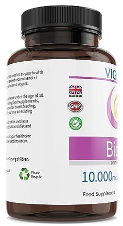 Biotina 10000 mcg Vitamina B7 para fortalecer y evitar la caída del cabello - Para tener una piel, pelo y uñas más fuertes y sanas - 180 comprimidos ...