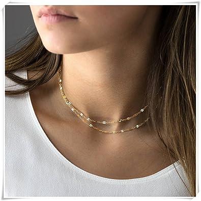 2737ea198ecca Amazon.com: Double Wrap Lace Chain Choker Necklace: Jewelry