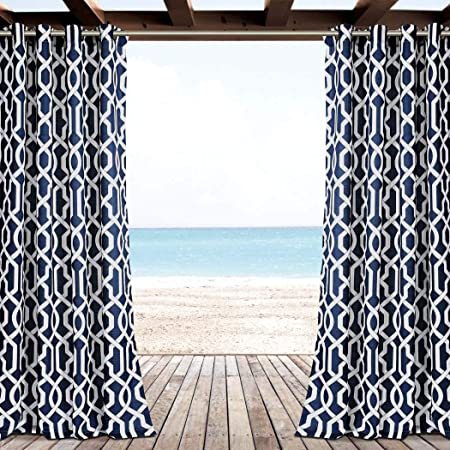 2pc 84 Azul Color al aire libre Gazebo diseño geométrico cortina, Patio porche ojal anillo Top puerta pérgola de cortinas, azul marino fuera de celosía ventana tratamiento Panel par, Cabana poliéster: Amazon.es: