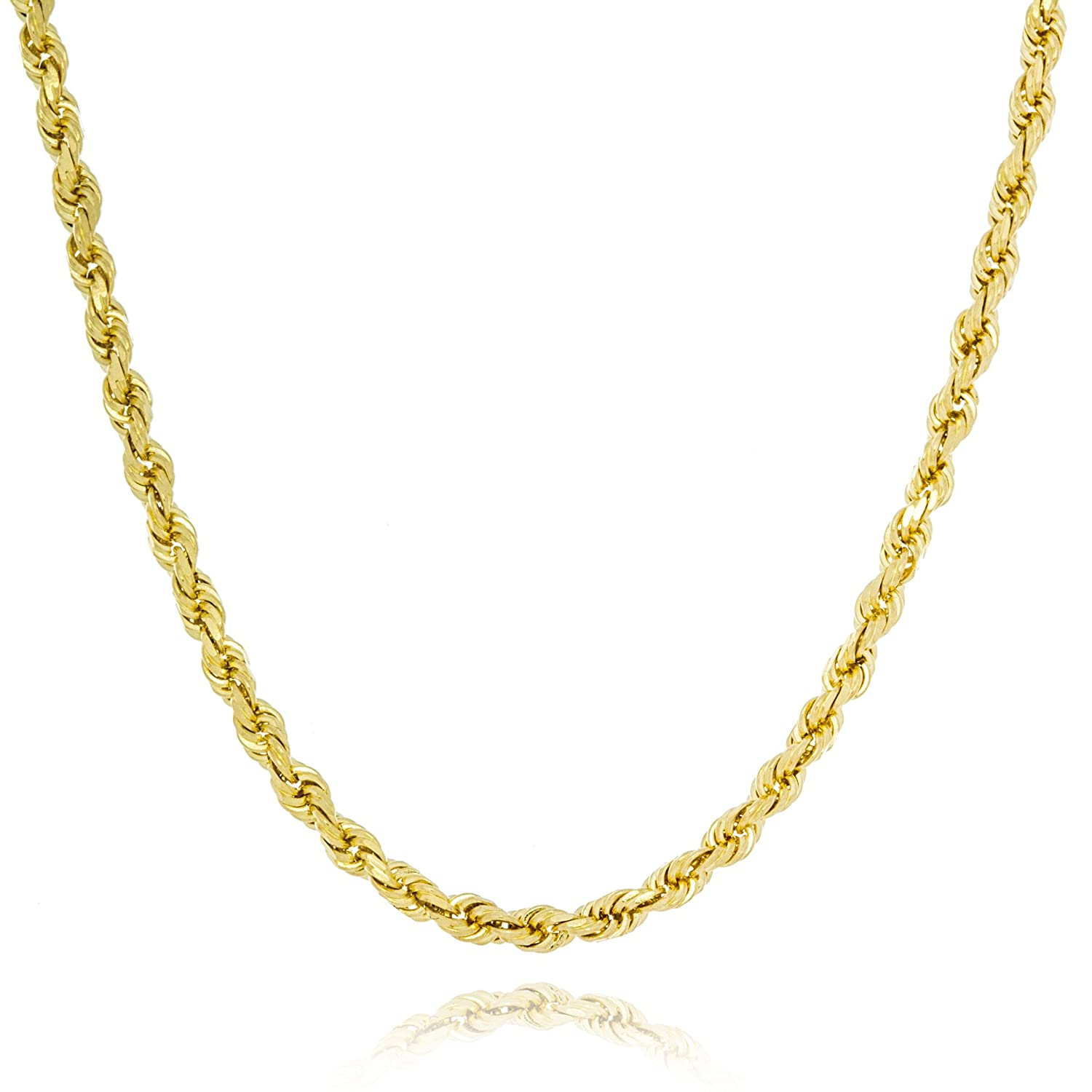 8f1ac3b7da2 Amazon.com: Solid Gold Heavy French Rope Chain Necklace Made in Italy of  14K Yellow Gold 2mm Wide by 16