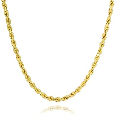 70cda18e260bb Amazon.com: Solid Gold Heavy French Rope Chain Necklace Made in ...