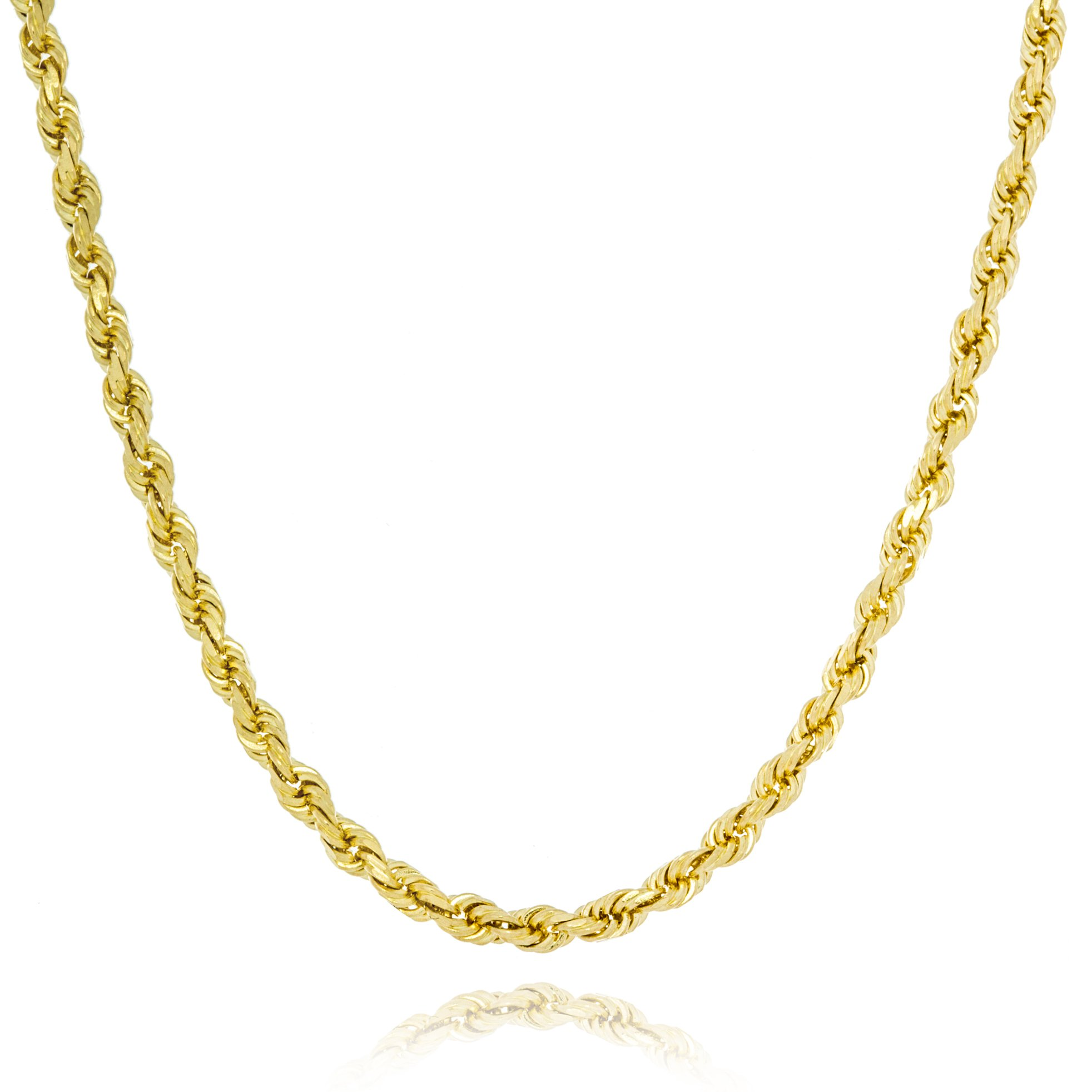 Solid Gold Heavy French Rope Chain Necklace Made in Italy of 14K Yellow Gold 2mm Wide by 18'' Long | 6.6g