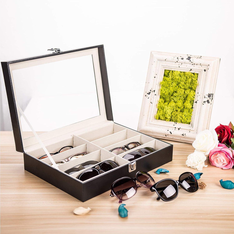 CO-Z Brillenbox Brillen Koffer Etui Eyeglass Case mit Schaufenster aus Glas f/ür Aufbewahrung und Pr/äsentation von 12 Brillen Sonnenbrillen Aufbewahrungsbox Organizer PU Leder 33.5 x 19.6 x 15.5 cm
