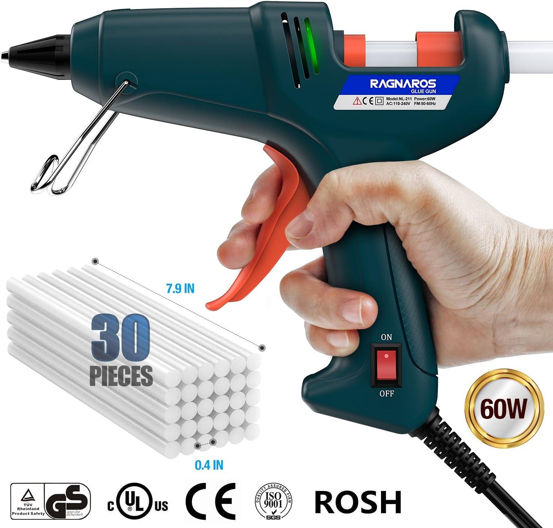 60W Thermostat Hei/ßkleber Pistole RAGNAROS Hei/ßklebepistole 30 pcs Schmelzkleber-Sticks schnelle Vorgl/ühen mit PTC Heizungstechnik