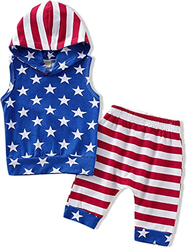 2pcs 4th of July Baby Boy Clothes Sets Summer Casual Camouflage T Shirt Top Stars Striped Flag Shorts Outfit