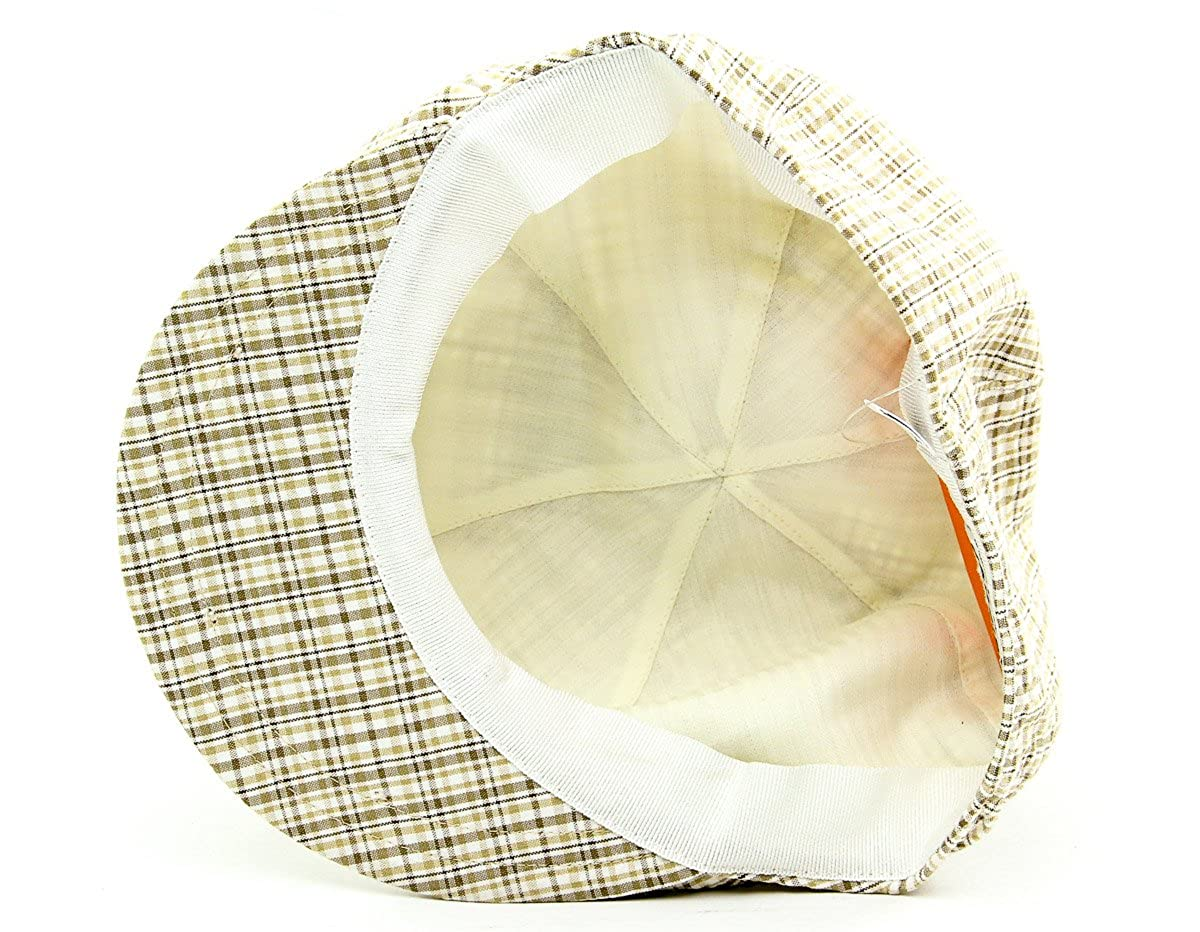 Barbisio Mens Seersucker Newsboy Hat Tan Plaid Size Large 7 3//8 US
