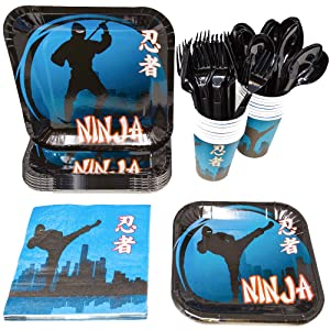 Blue Orchards Ninja Party Supplies Packs (113+ Pieces for 16 Guests!), Ninja Birthday Supplies, Tableware