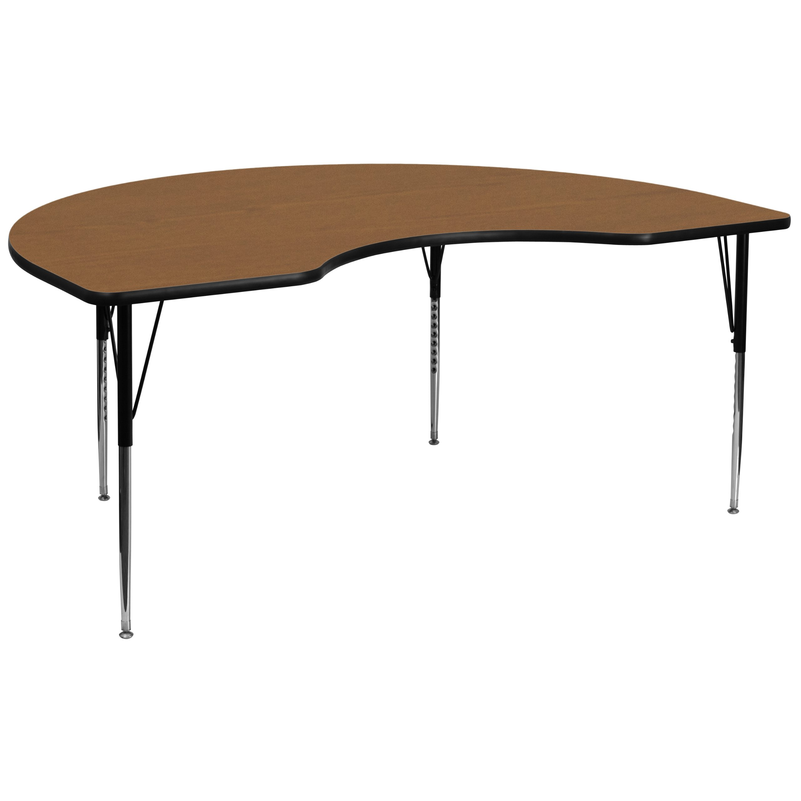 48''W x 96''L Kidney Shaped Activity Table with Oak Thermal Fused Laminate Top and Standard Height Adjustable Legs [XU-A4896-KIDNY-OAK-T-A-GG]