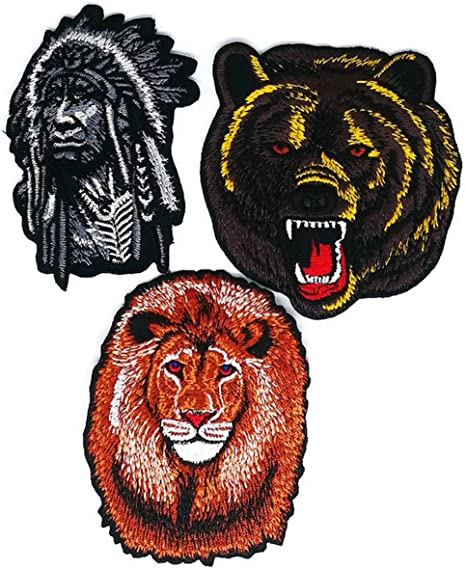 Indio Cabeza Oso León Cartoon Patch coser hierro bordado de ...