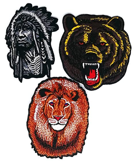 Indio Cabeza Oso León Cartoon Patch coser hierro bordado de Applique Craft hecho a mano bebé. Pasa ...