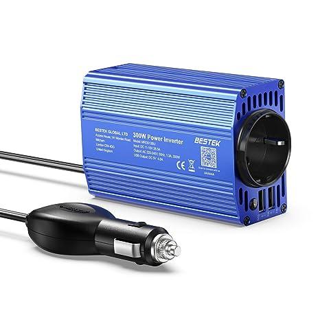 BESTEK Inversor de Corrientes 300W 12V a 220V-230V Transformador 12V Cargador con 2 Puertos USB de 3,1A y 1 Toma Enchufe Onda Modificada