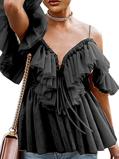 a56582d8bae Simplee Women's Sexy Off Shoulder Deep V Neck Tops Lace Up Ruffle Blouse  Shirt