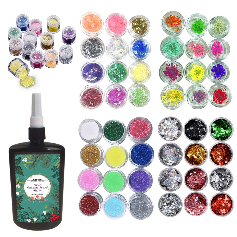 250ml Epoxy Resin UV Crystal Clear Transparent 60 Decorations Glitters Dried Flowers Glassine, Epoxy Kit for Resin Crafts Jewelry Making