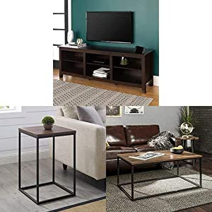 Walker Edison Furniture Company Minimal Farmhouse Wood Universal Stand for TV with Square Wood Side Accent Small End Table,16 Inch and WE Furniture Rectangle Coffee Accent Table,42 Inch, Walnut Brown