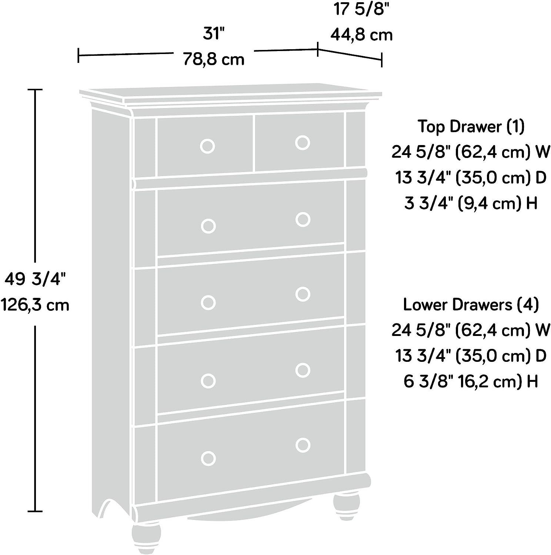 Amazon Com Sauder Harbor View 5 Drawer Chest Antiqued Paint Finish Furniture Decor