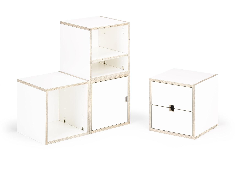 Regalwand S37-Set, Midi-Set, weiß, aus einzelnen Würfeln zusammensetzbares und erweiterbares Regalsystem
