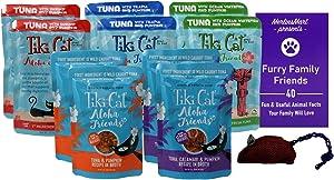Tiki Cat Aloha Friends Grain Free Tuna Pumpkin Cat Food 5 Flavor Variety 10 Pouch Sampler - (2) each: Tilapia, Shrimp, Calamari, Whitefish, Pumpkin (2.5 Ounces) - Plus Toy and Fun Facts Booklet Bundle