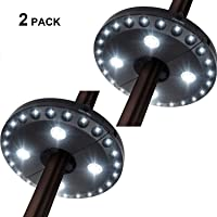 Patio Umbrella Light, 4AA Battery Powered Led Umbrella Pole Light with 3 Brightness Modes Cordless 28 LED Lights at 200 lumens, for Patio Umbrellas, Camping Tents or Outdoor Use(2 Pack)