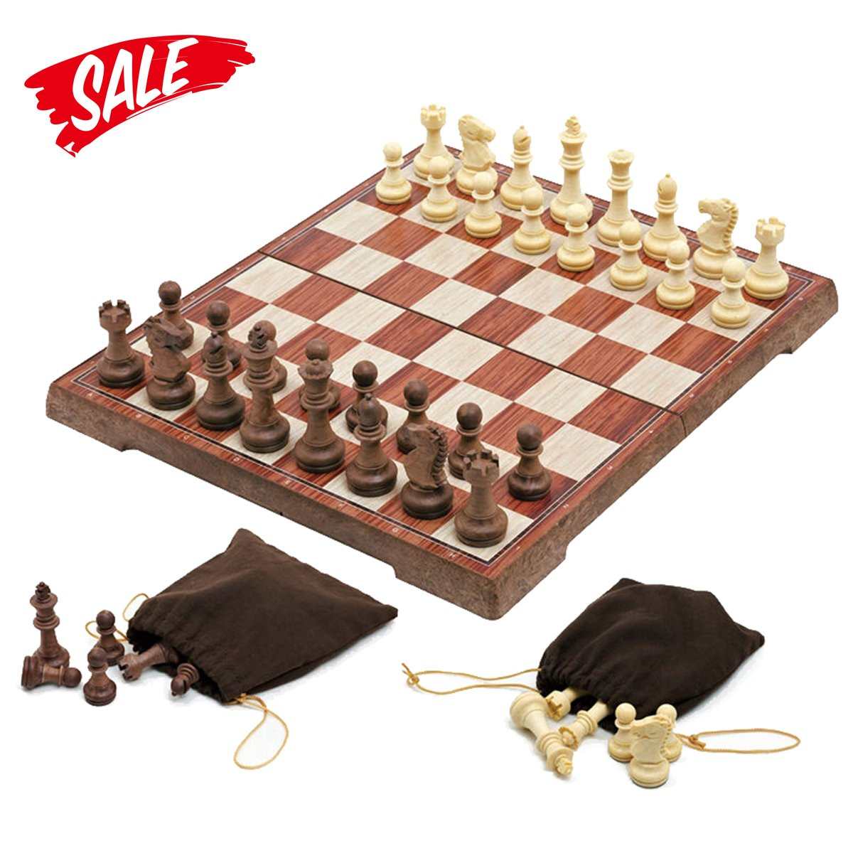 Chess Set -HoveBeaty Portable Classic Folding Travel Magnetic woody Chess Set