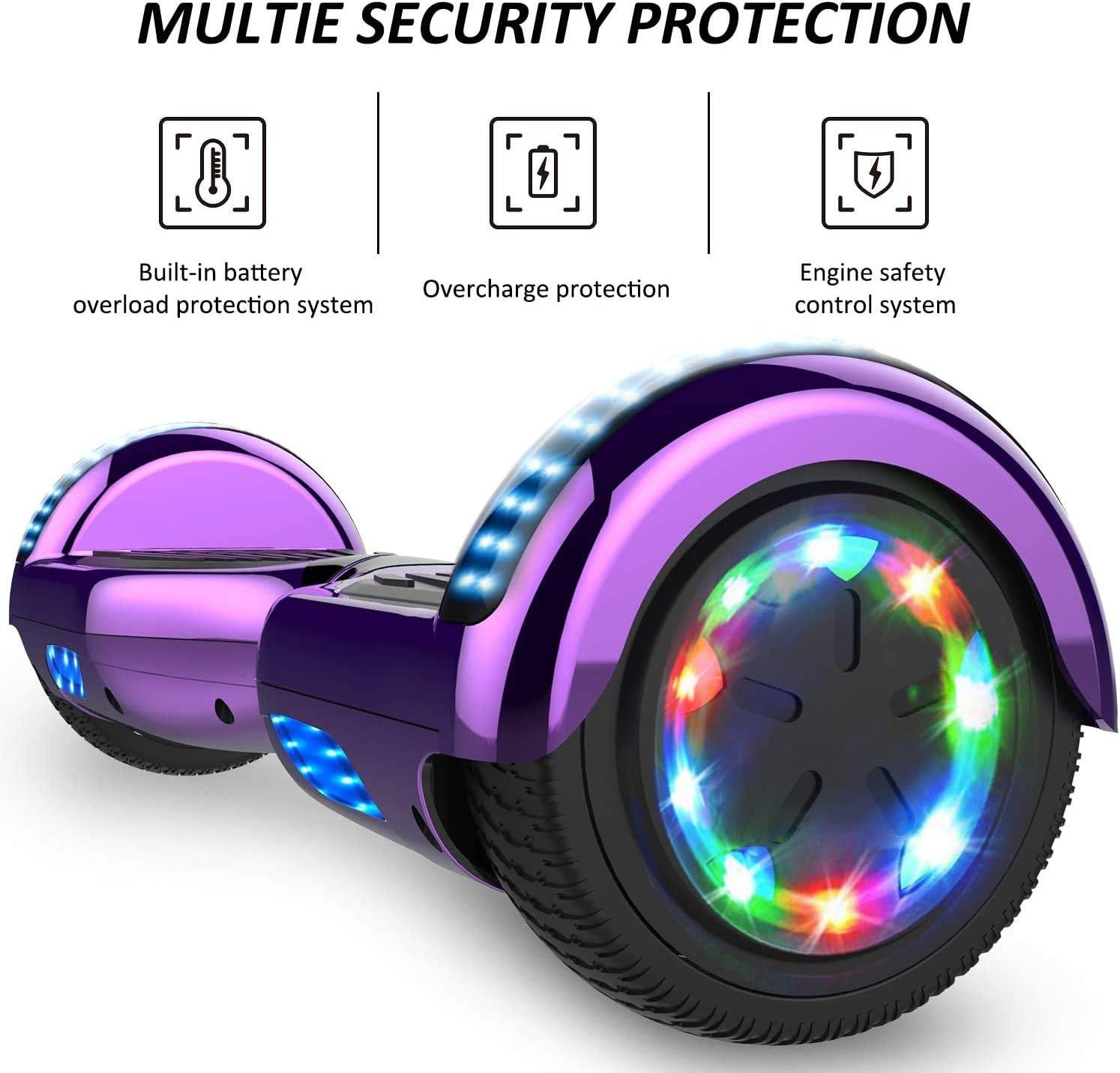 Patinete El/éctrico Self-Balance Board Motor 700W con Ruedas LED de Flash Monopat/ín El/éctrico Ni/ño Adulto CITYSPORTS Overboard 6.5 Pulgadas Hover Board Bluetooth