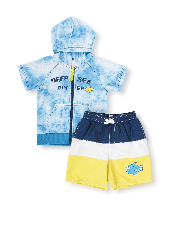 Wippette Little Boys Toddler Big Fish Diver Rashguard Coverup Swim Trunk Set