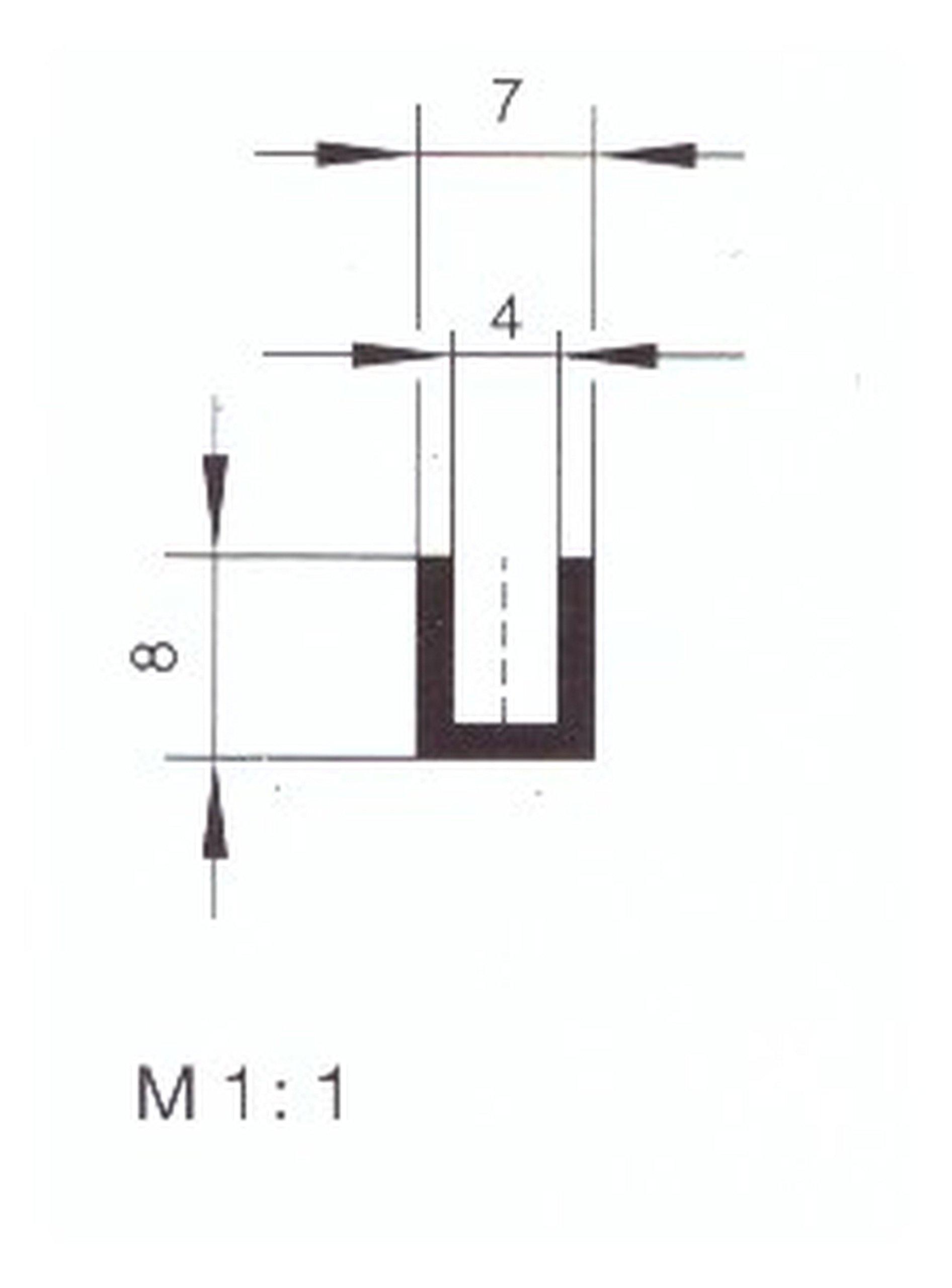 Eutras Edge Safety 1941Frame FP3006Edge Protection Rubber Seal Split 4.0mm, black, 3m