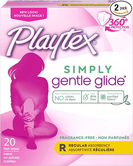 Playtex Gentle Glide Tampons with Triple Layer Protection, Regular, Unscented - 20 Count (Pack of 2)
