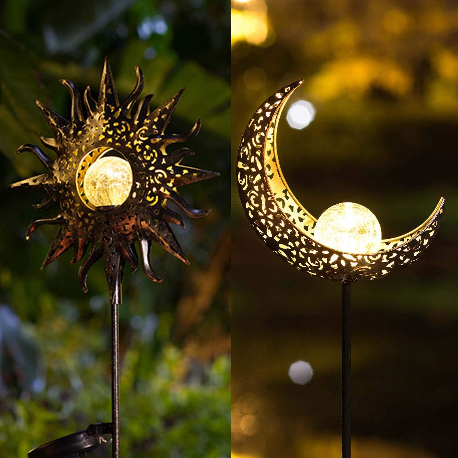 Homeimpro Moon and Sun Solar Garden Light Outdoor Decor Stake Decorative