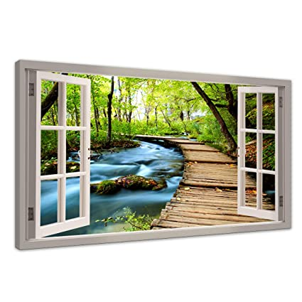 . HUADAOART Wall Art for Living Room Canvas Print Window Forest Bridge Modern  Nature Picture Landscape Artwork Framed Canvas Printing 1 Panels 20 x40