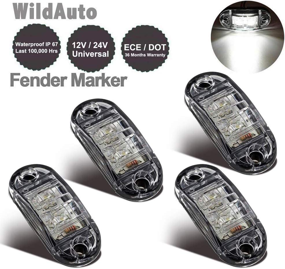 WildAuto - Led Camión Luces De Posicion Lateral , Luces Galibo - Para Camión Remolque - 2,5 Pulgada - 2 LEDs - 12 V/24 V - Oval - 4 Pcs