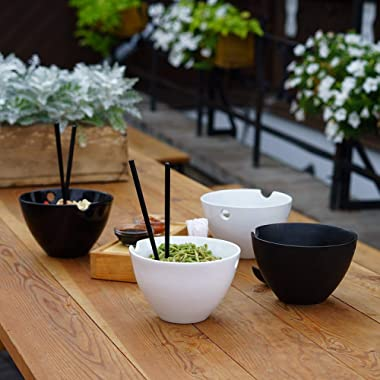 Noodle Soup Bowl Set - Two Bowls with Spoons & Chopsticks for Ramen Pho Udon Japanese Asian Thai Noodles Curry - Large Size 35 oz - Beautiful Ceramic & Bamboo - Microwave & Dishwasher Safe