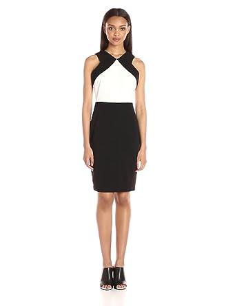 Calvin Klein Women's Sleeveless Round Neck Color Block Scuba Crepe Sheath Dress, Black/White, 2