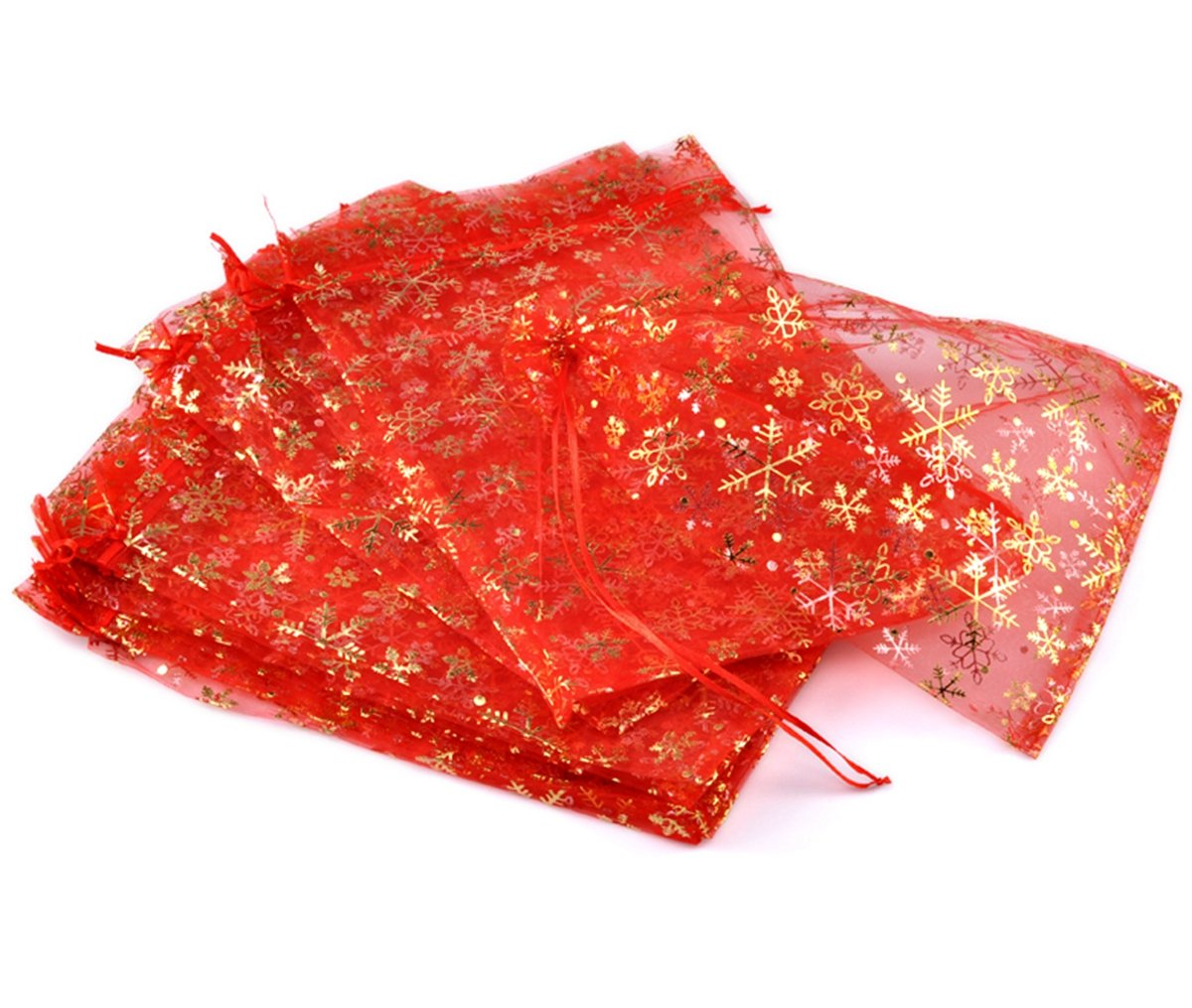 HOUSWEETY 50PCs Red Christmas Snowflake Organza Wedding Gift Bags Pouches 30cmx20cm