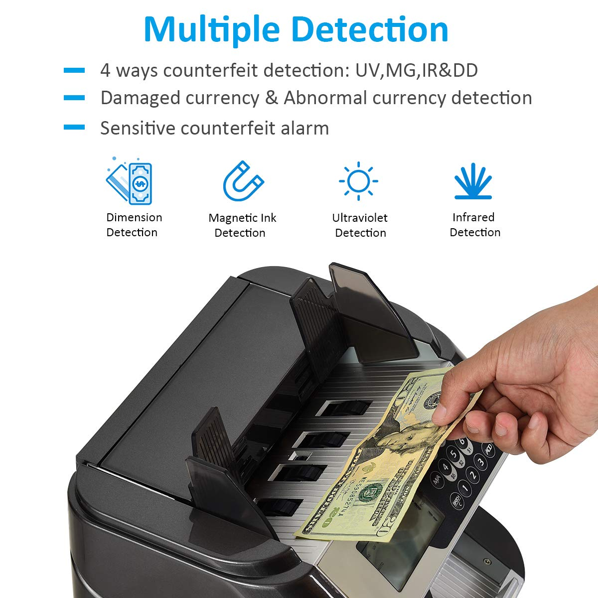 200 Bills Capacity Hopper /& Stacker Professional Cash Counting Machine Goplus Bill Counter with UV//MG//IR//DD Counterfeit Detection Money Counting Machine with LED Display